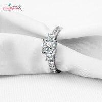 COLORFISH Three Stone Silver Rings Princess Cut Ring Prong Set Zircon Simulated Diamond Ring Women 925