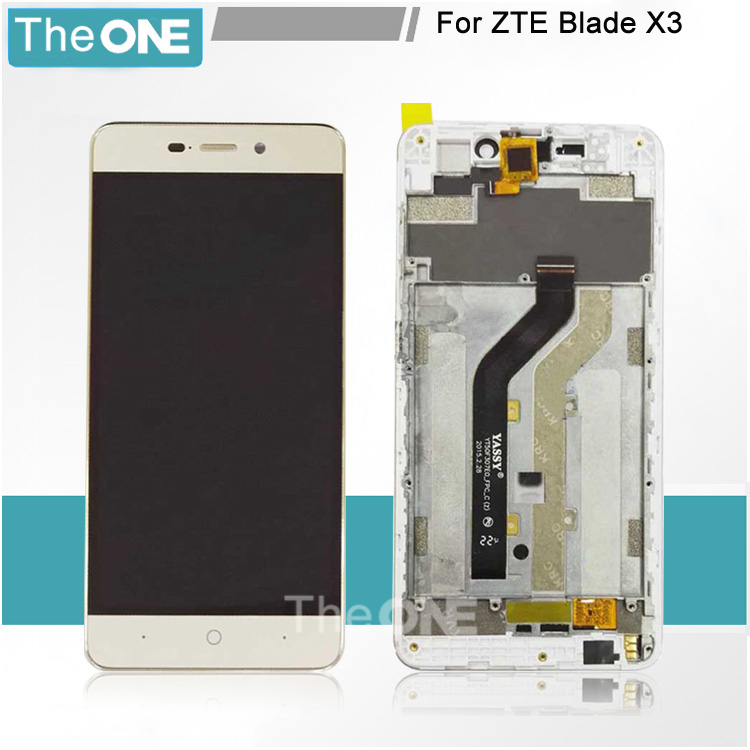 White/Gold LCD+TP+Frame For ZTE Blade X3 D2 LCD Display with Touch Screen Digitizer Smartphone Replacement
