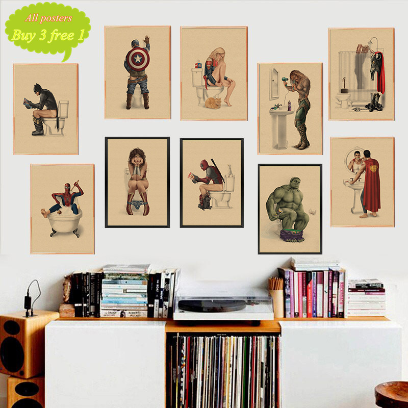 Marvel Superhero Batman Toilet Funny Poster Wall Art Posters Retro Kraft Paper Prints Wall Pictures For Bathroom Decor Buy At The Price Of 1 75 In Aliexpress Com Imall Com
