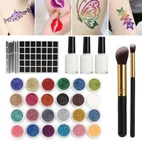 Glitter Temporary Tattoo Set Semi Permanent Color Waterproof Body Art Tattoo 118 pattern Painted 24 color Glitter Tattoo Kit