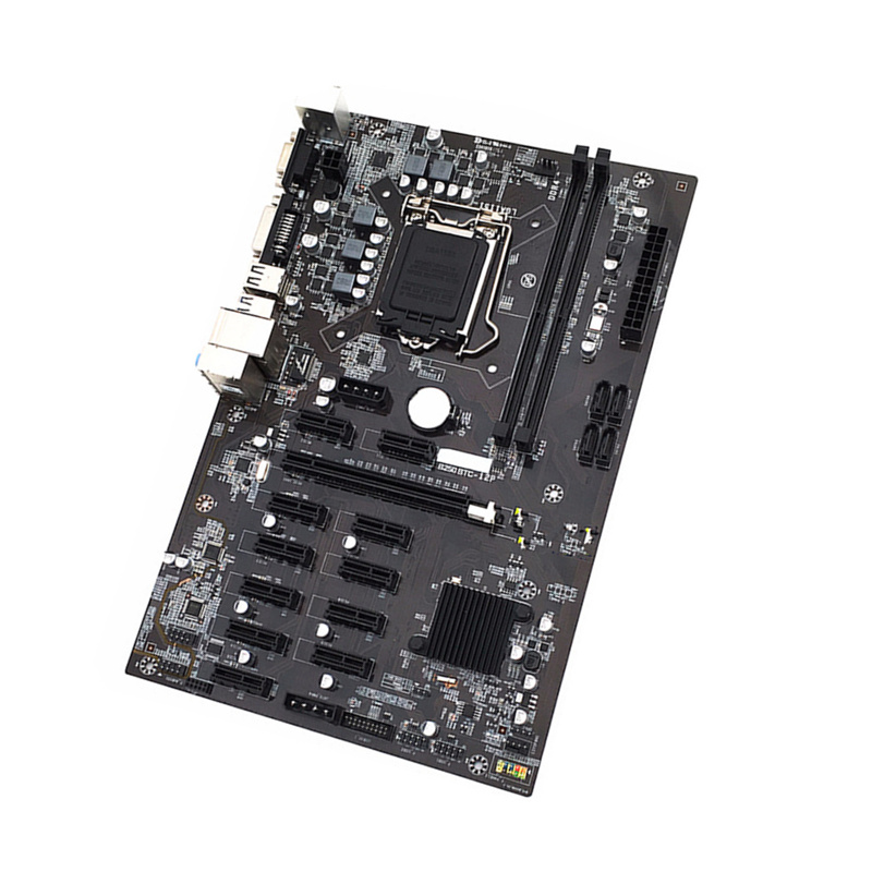 New B250 <font><b>Motherboard</b></font> 2*DDR4 For Inter LGA1151 Socket USB3.0 SATA3.0 Support 12 Graphics Cards BTC Mining <font><b>Motherboard</b></font> image