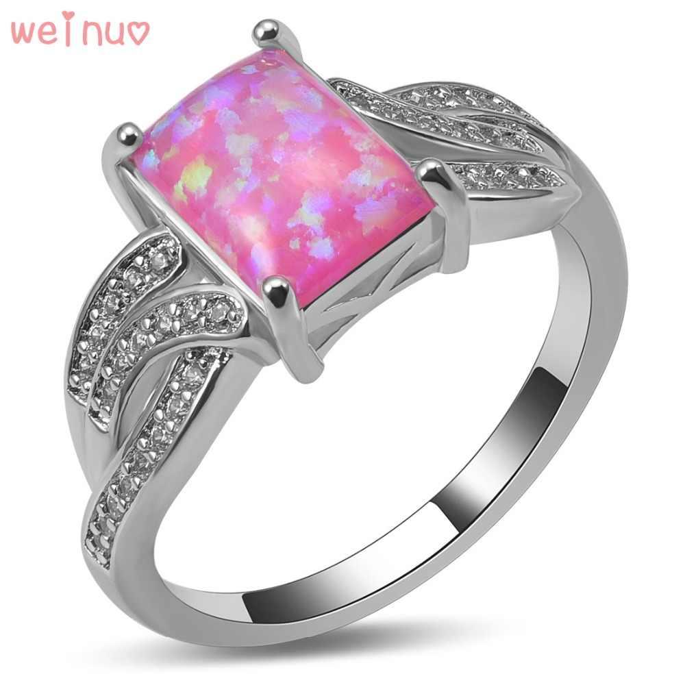 Weinuo ורוד לבן אופל אש קריסטל טבעת כסף סטרלינג 925 למעלה איכות גודל טבעת נישואים תכשיטים מפוארים 5 6 7 8 9 10 A459