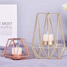 Nordic Style Wrought Iron Geometric Candle Holders Metal Lantern Holders Candle For Wedding Table Decoration Crafts(China)