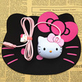 Creative 3D Hello Kitty Light-up USB Optical Mouse Cartoon Wired Mice Hello Kitty Luminous Cat Head Lovely Mouse for Laptops& PC