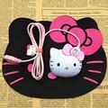 Criativo Olá Kitty 3D Light-up Dos Desenhos Animados Com Fio Do Mouse Óptico USB camundongos Olá Kitty Luminosa Cabeça Gato Adorável Rato para Laptops & PC