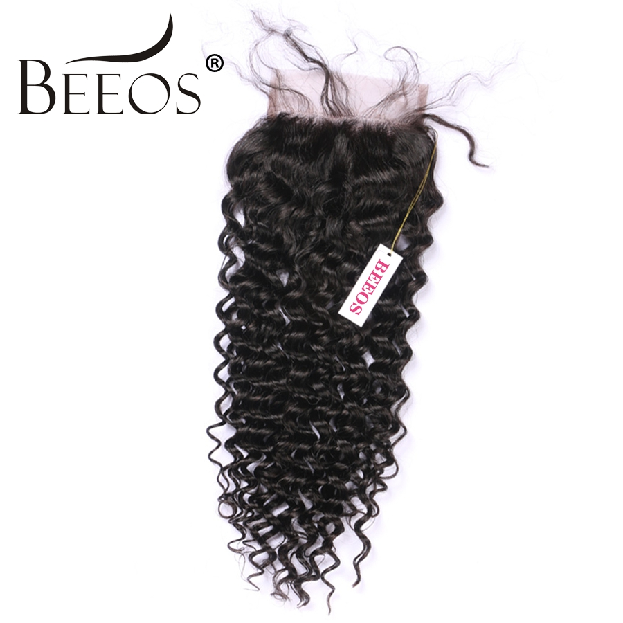 Peruvian Deep Curly Lace Closure Free Parting Bleached Knot 4x 4 Swiss Lace 100% Remy Human Hair Weave Closure With Baby Hair