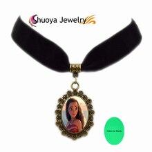 Glow В Dark Моана Choker Necklaces S & Y 2017 Посеребренные Бархатной Лентой Стекло Ретро Ожерелья Моана Ожерелье женщины Подарок