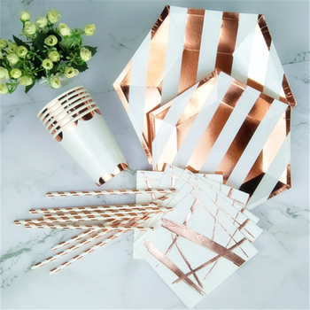 32 Sets Paper Tableware Decor Girl Boy Birthday Wedding Party Rose Gold Paper Plates Cups Napkins Drinking Straws New Year Favor