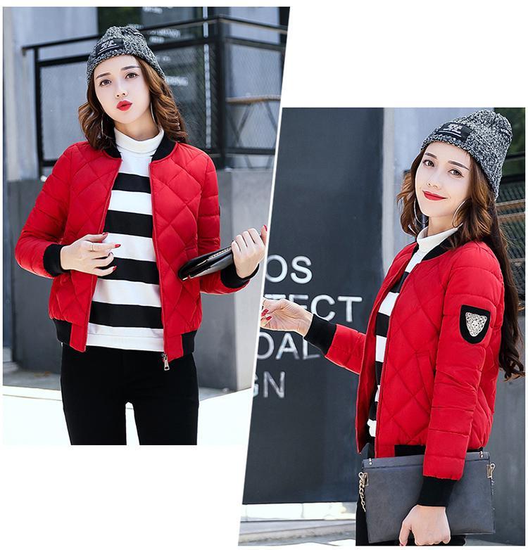Autumn Winter New Baseball Cotton Padded Jacket Fashion Short Slim Stand Collar Epaulet Casual Parkas Coat
