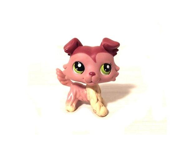 Bright Pet Shop Animal Puppy Pink Cream Dog Collie Figure Doll Child Toy