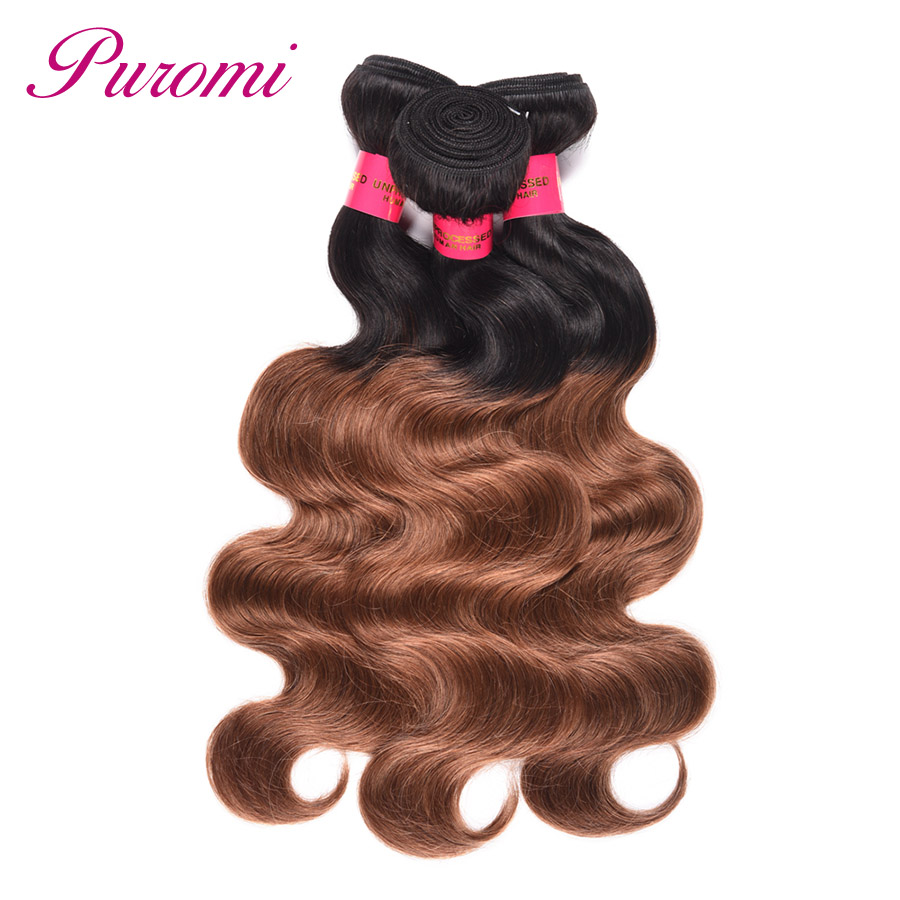 Puromi Ombre Hair Bundles Brazilian Body Wave T1b/30 Hair Extension Non remy 3 Bundles Deals Brown Color 10 26 inches In Stock-in 3/4 Bundles from Hair Extensions & Wigs    1