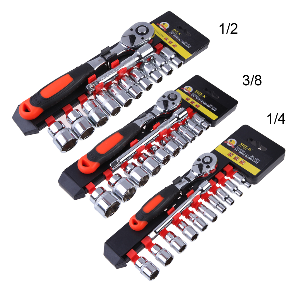1 Set Socket and Bit Set with 1/4 Drive Ratchet Wrench Multifunctional Household Tool Kit Car Repairing Tools Set mainpoint 1 4 1 2 3 8 e socket sockets set cr v torx star bit combination drive socket nuts set for auto car repair hand tool