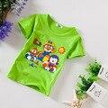 Camiseta del muchacho Ropa de Manga Corta de Algodón patrón de la Historieta Impresa Niños camisetas Boy moda Azul Verde Gris venta de Liquidación