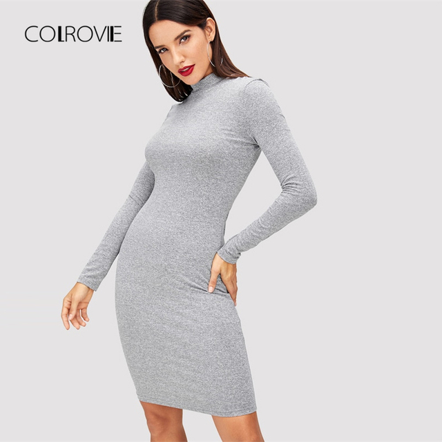 COLROVIE Grey Solid Heathered Girl Slim Knitted Sexy Dress Women 2018  Autumn Long Sleeve Casual Party f984029baae6