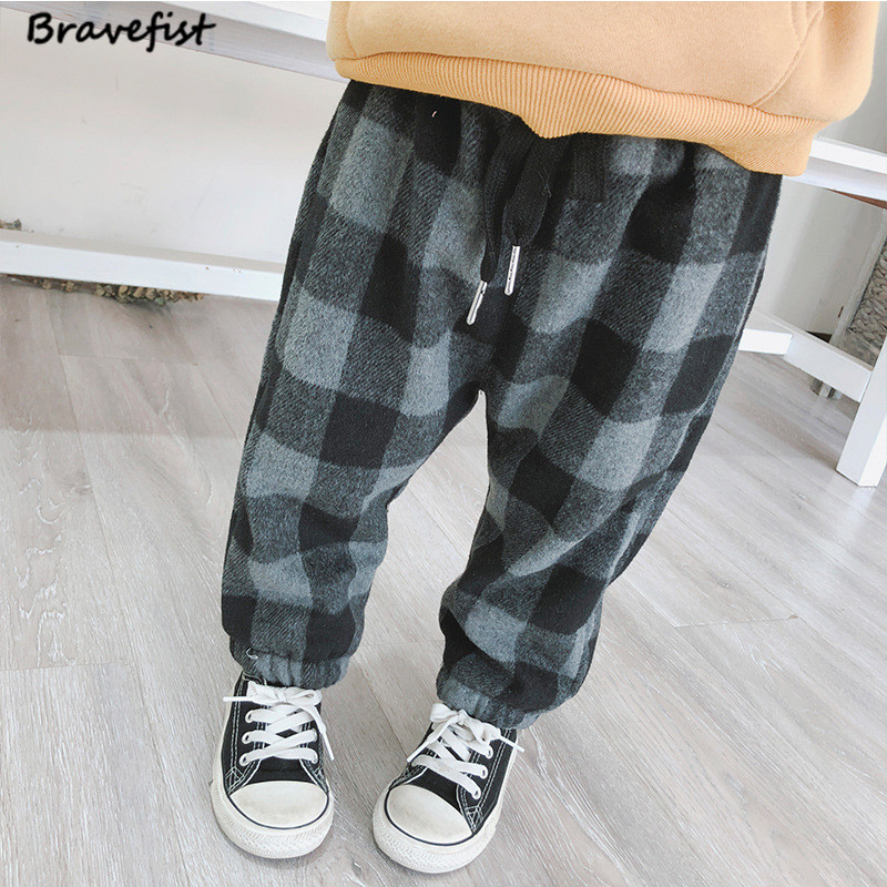 Trousers Baby-Pants Fleece Baby-Boys-Girls Infant Winter Kids Children Warm Fashion Plaid
