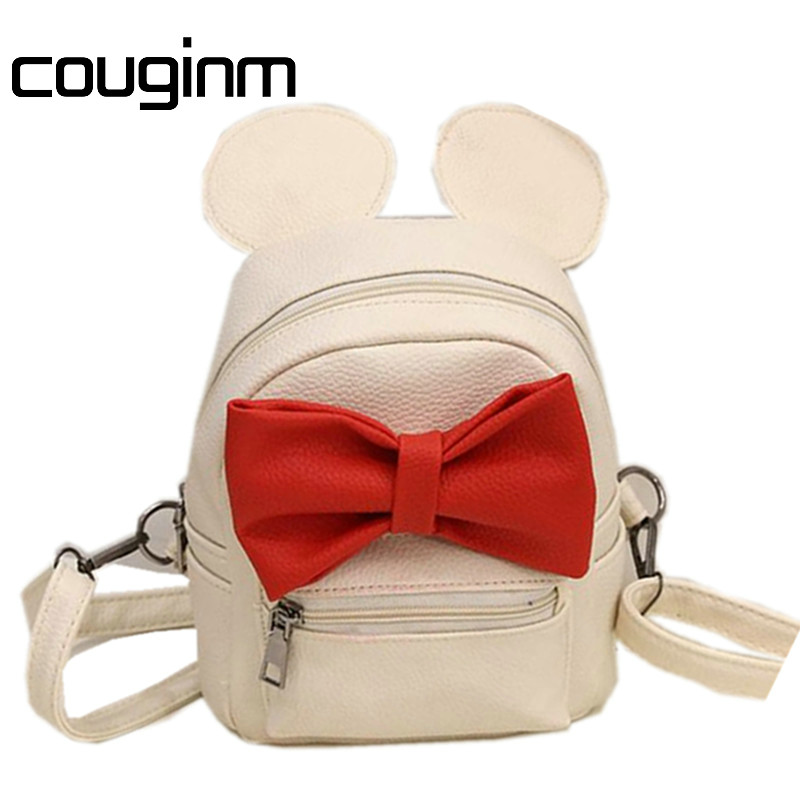 COUGINM Fashion New Female Bag Quality PU Leather Women's Bag Backpacks Cute Ears Bow sweet  Style School Baby Mini Backpack 12mm waterproof soprano concert ukulele bag case backpack 23 24 26 inch ukelele beige mini guitar accessories gig pu leather
