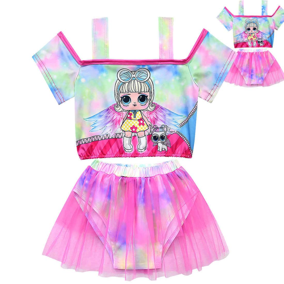 Новые детские купальники, купальные костюмы для девочек, сетчатая юбка на бретельках с открытыми плечами, купальные костюмы для девочек, пляжная одежда из двух предметов для девочек