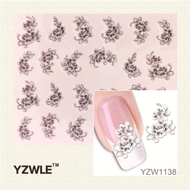 YZWLE Hot Sale 1 Sheet Water Transfer Nail Art Stickers Decal Elegant Light Blue Peony Flowers Design French Manicure Tools