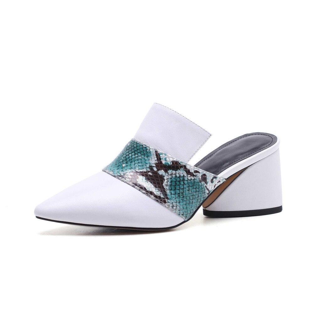 Couleur Talons Pot Marque L25 Cuir Véritable Pompes Krazing Mode 2018 Carré En Noir Haute Chaussures Nouvelle Mules Femmes Piste blanc Bout Pointu Mixte TR0ndRZwxq