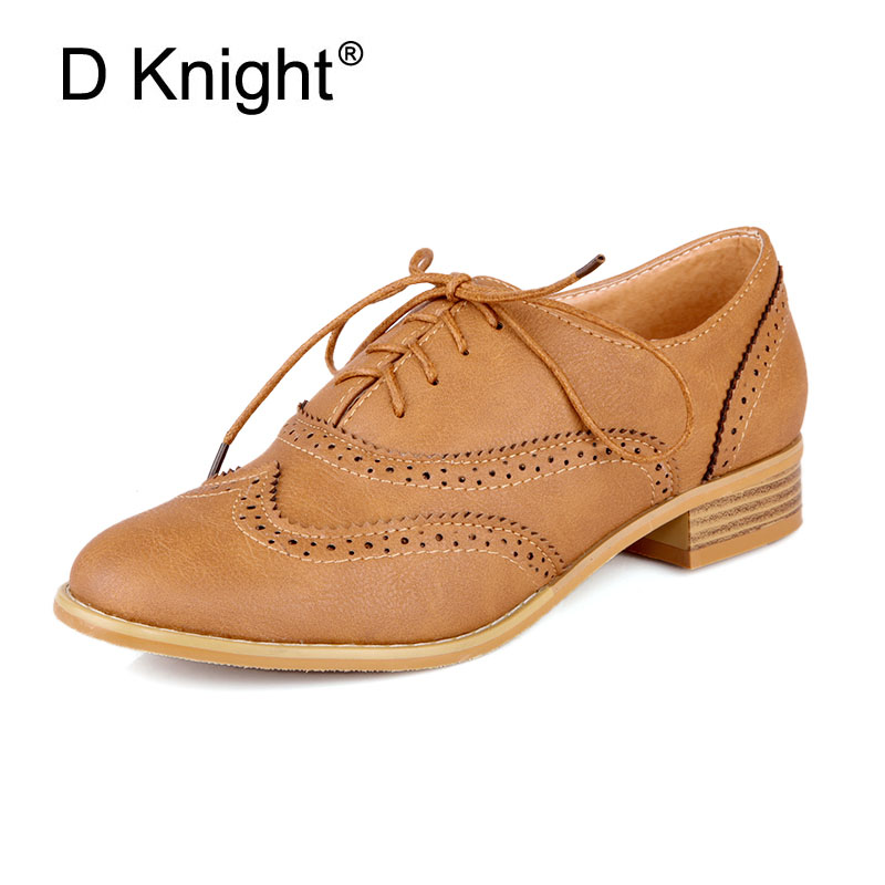 New Fashion Round Toe Carved Brogue Oxford Shoes For Women Vintage Lace Up Women Oxfords Big Size 34-43 Ladies Casual Flats new round toe slip on women loafers fashion bow patent leather women flat shoes ladies casual flats big size 34 43 women oxfords