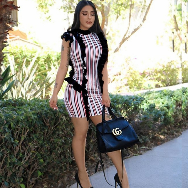 59cc3f156d US $22.4 |2018 africa clothes women tsexy summer dress bodycon ruffle  stripe short dresses vetsidos beautiful cheap casual outfit dresses-in  Dresses ...