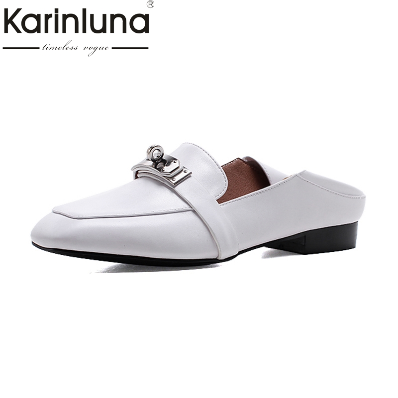 KARINLUNA Fashion Genuine Leather Large Size 33-42 Square Toe Slip On Casual Mules Woman Black White  Shoes Women Shoes exotic chinese retro totem embroidery shoes woman canvas flat heel mules cool fish warping slip on slipper casual slides size 41