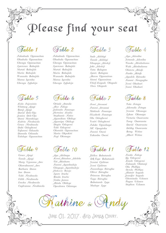 Wedding Ceremony Seating Chart Wedding Seating Chart Template 34 ...