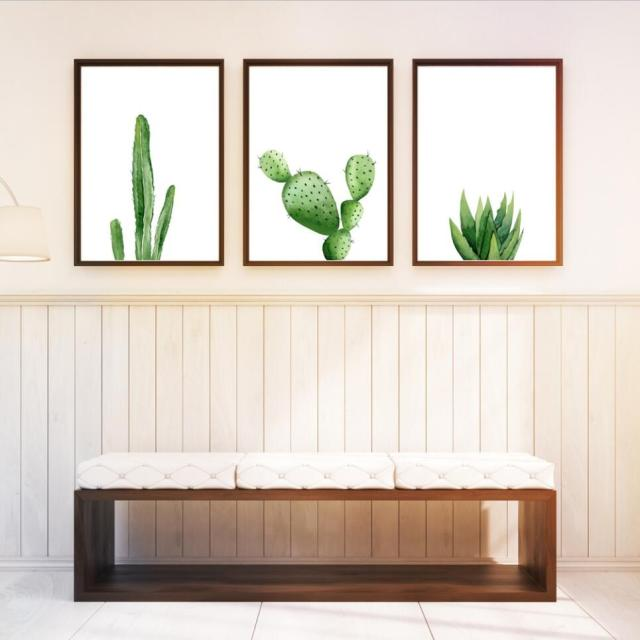 Nordic Home Decor Cartoon Cactus Decor A4 Posters Green Plant Canvas  Painting Modern Wall Pictures For