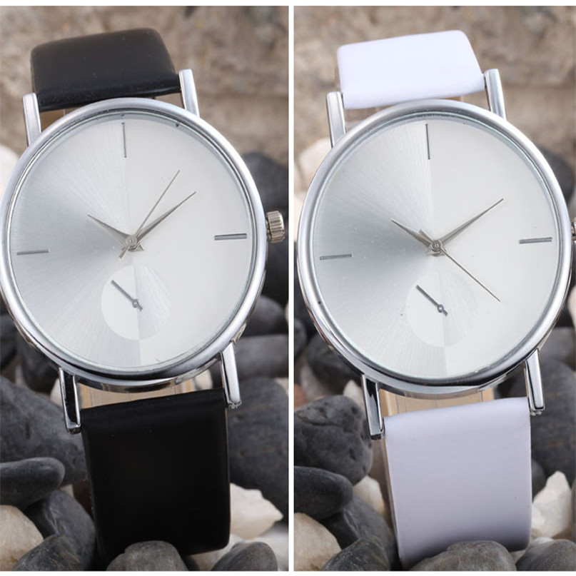 Women's Fashion Design Dial Leather Band Analog Quartz Wrist Watch #4A20#F
