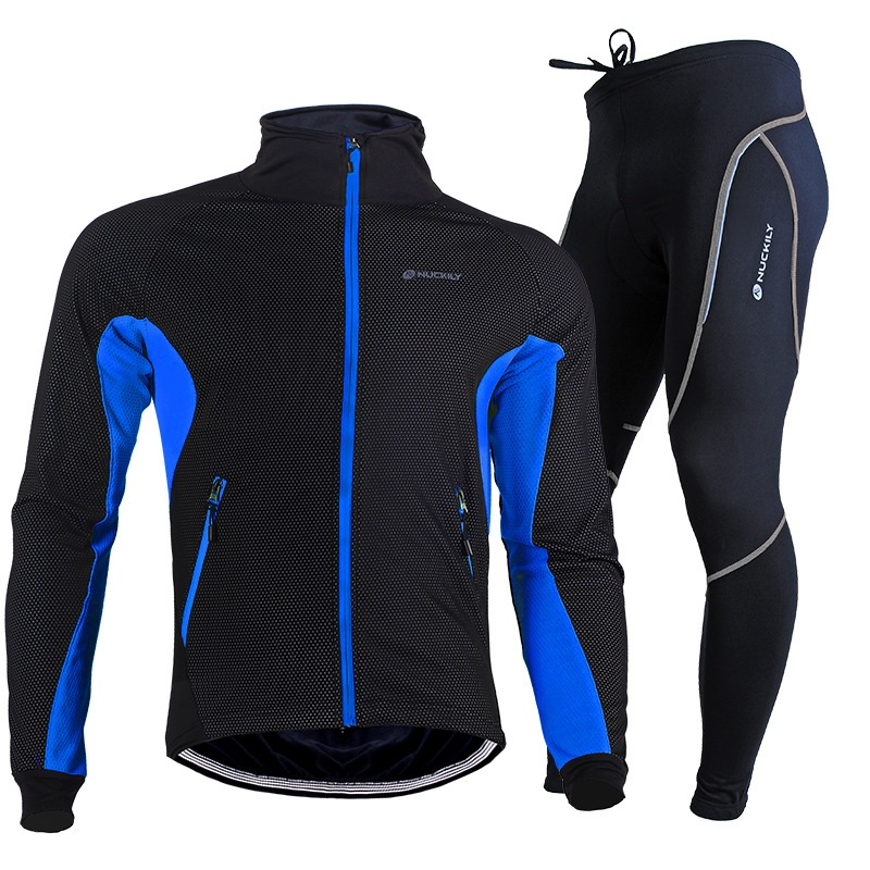ФОТО NUCKILY Cycling Jacket Sets Men Long Sleeve Winter Thermal Fleece Riding Suit Waterproof Keep Warm Trousers Outdoor Clothing