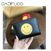 CAJIFUCO Smile Face Real Leather Wallet Keyring Chain Hook Credit Card Holder Tassel Double Zipper Coin Purse Porte Carte