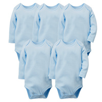 5pcs Set Pure White Cotton Unisex Neutral Long Sleeve Baby Body Clothes Infant Newborn Wear Children