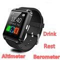 Bluetooth smart watch u8 smartwatch passometer altímetro barômetro bebida de relógio relógios de pulso à prova d' água para ios android phone