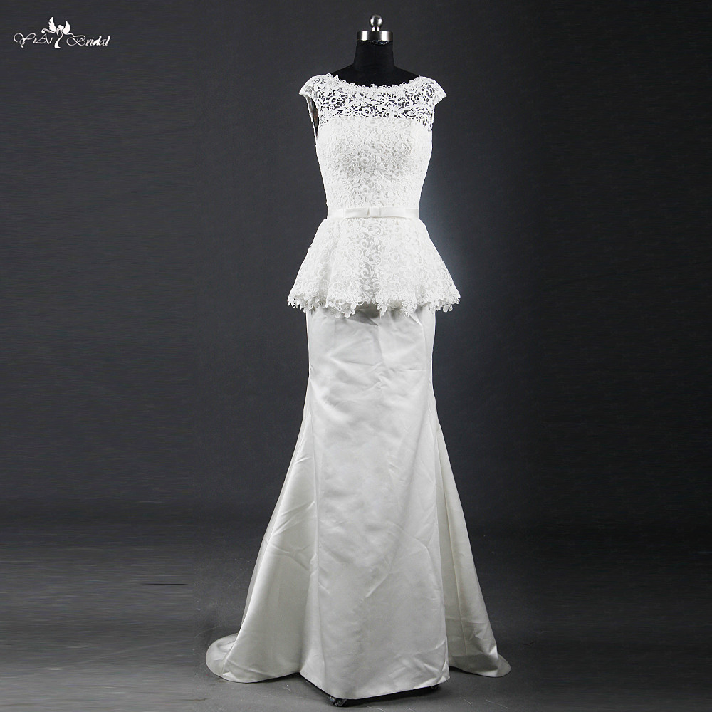 RSW1221 Boat Neckline Sleeveless Peplum Skirt Satin Simple Wedding Dress