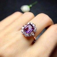 Природный натуральный аметист кольцо стерлингового серебра 925 6*8 мм драгоценных камней для мужчины или женщины кольца Fine jewelry