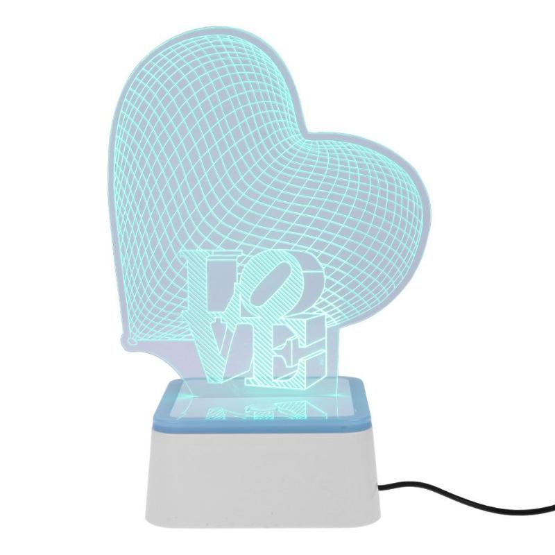 Romantic 3D Love Night Light Color Change Table Lamp for Baby Bedroom Sleeping Bedside Party Wedding Decoration Night Lamp