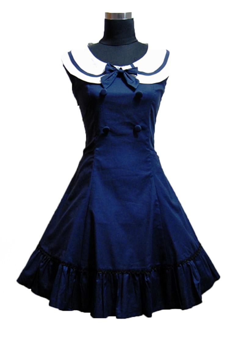 Personnalisé Lolita Style Collège Marine Marine Sans Manches Robe Mince