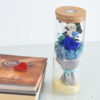 WR Valentine's Day Immortal Flower Blue Pink Purple Rose w/ Glass Dome Romantic Glowing Flower w/ LED Lights for Christmas Gift