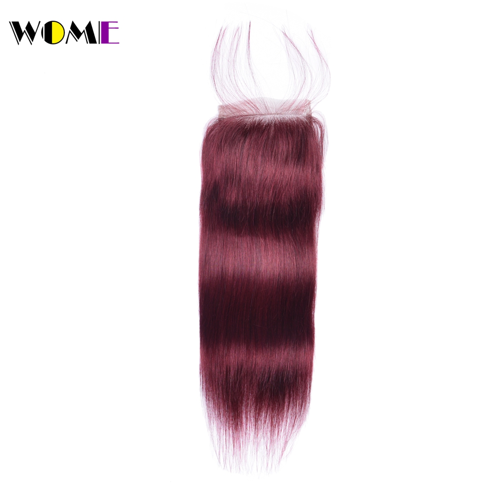 Wome Brazilian Straight Hair Closure 99j Red Burgundy Non remy Human Hair Top Lace Closure with