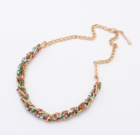 N116 Hand-woven 6 Color Bib Statement Beaded Collar Necklace Choker Necklace For Women Fashion Brand Jewelry Wholesale