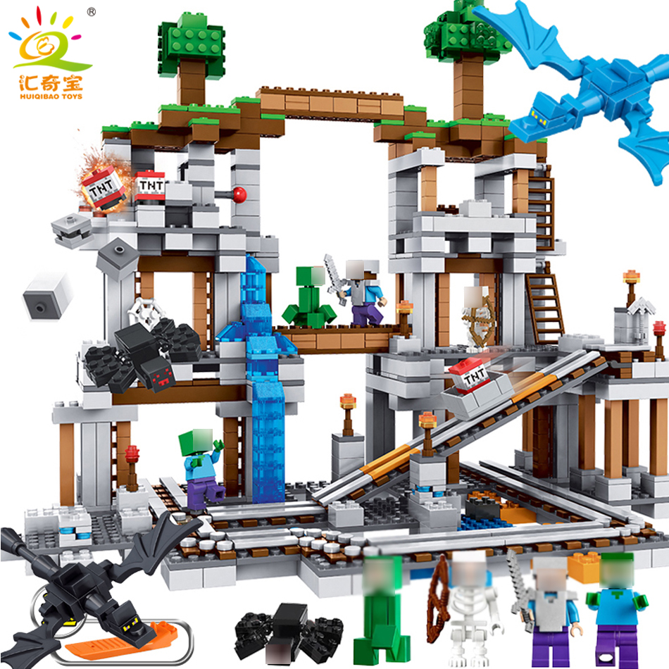 922pcs MY WORLD Mine Compatible Legoed Minecrafted Village Steve Figures Educational Building Blocks Bricks Toys For Children smartable building blocks of my world minecrafted lepin 4in1 steve with weapon figures brick model toys for children gift lr 823