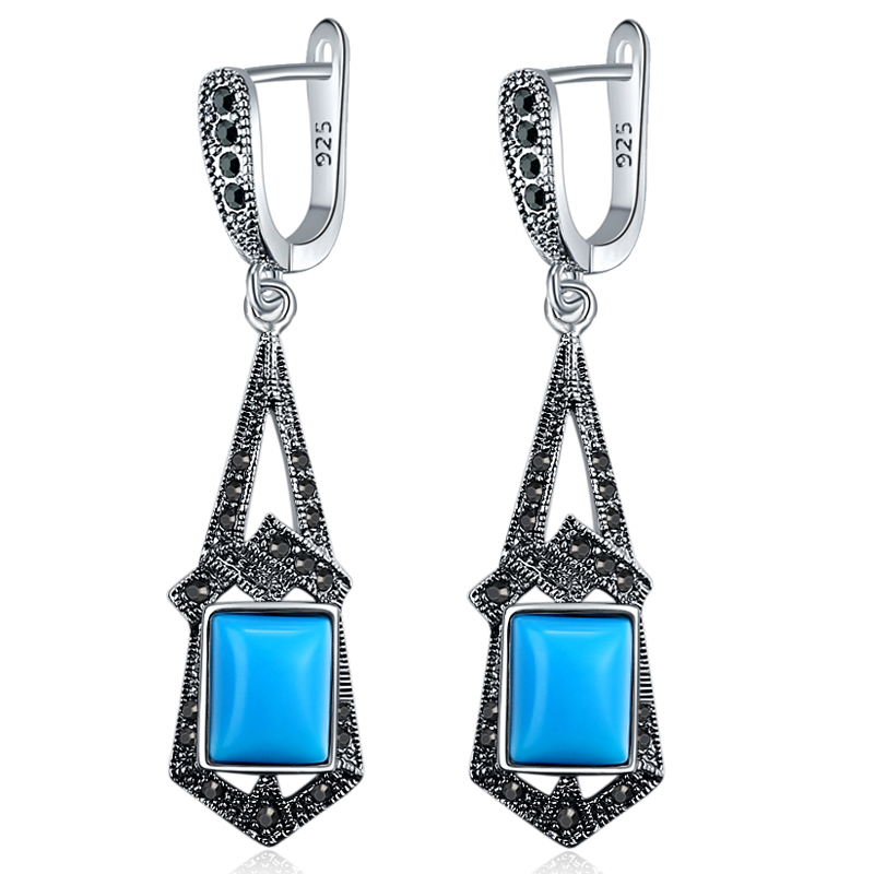 Ajojewel High Quality Blue/Black Resin Earrings For Women Antique Silver Color Long Retro Accessories
