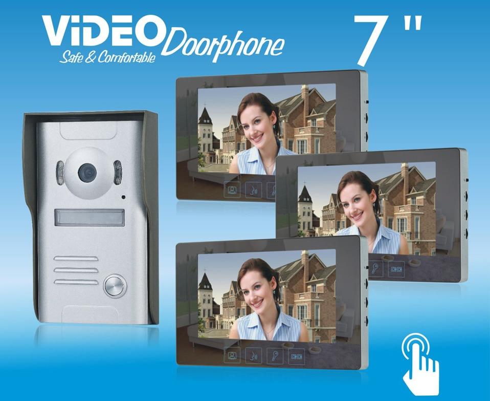 ZHUDELE Home security intercom system 7video door phone metal die-casting,waterproof explosion-proof 700TVL HD IR camera1 V 3