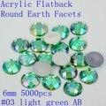 Buena venta de Acrílico flatback tierra redonda facetas 6mm 5000 unids colores AB granos de acrílico rhinestone del arte del clavo pegamento en perlas decorar