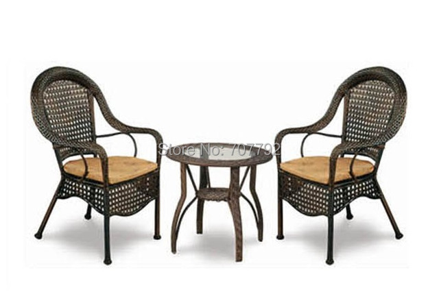 2 Chairs And Table Rattan Front Porch Rocking Outdoor Patio Furniture Dining With In Garden