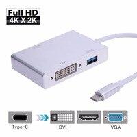 Mini 4 ב 1 USB 3.1 סוג C ל HDMI + 3.0 USB + DVI + VGA מתאם רכזת כבלי ממיר מטען נתונים USB3.0 רכזת כבלי תמיכת 4 K 1080 P