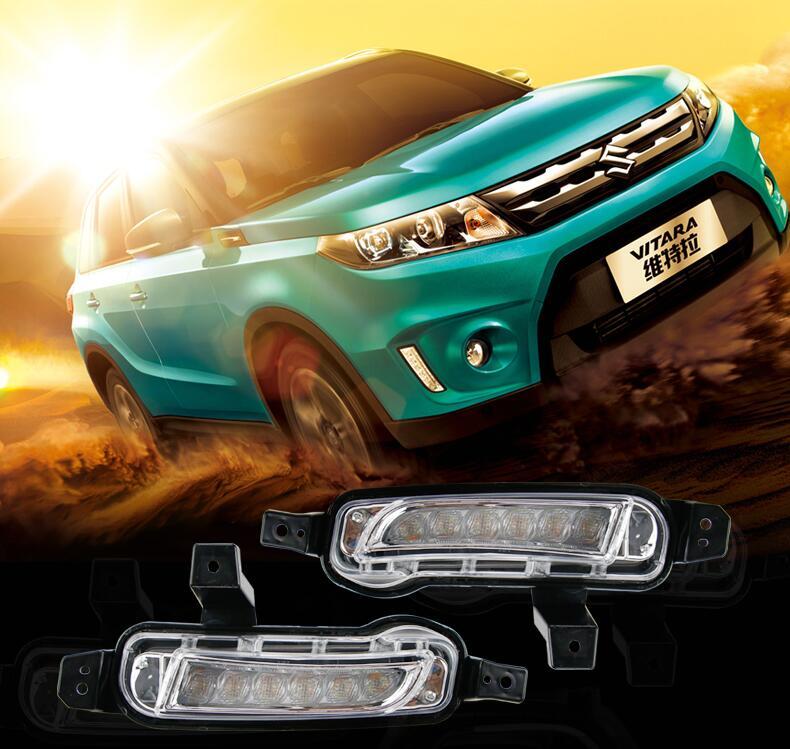 ФОТО Hireno Car LED DRL Waterproof ABS 12V Daytime Running Lights for SUZUKI Vitara 2015 Fog lamp 2PCS