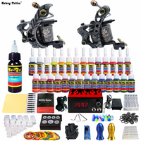 Complete Kits Pro 2 Handmade Coil Tattoo Machine Guns Power Supply Foot Pedal Needle Grips Tip