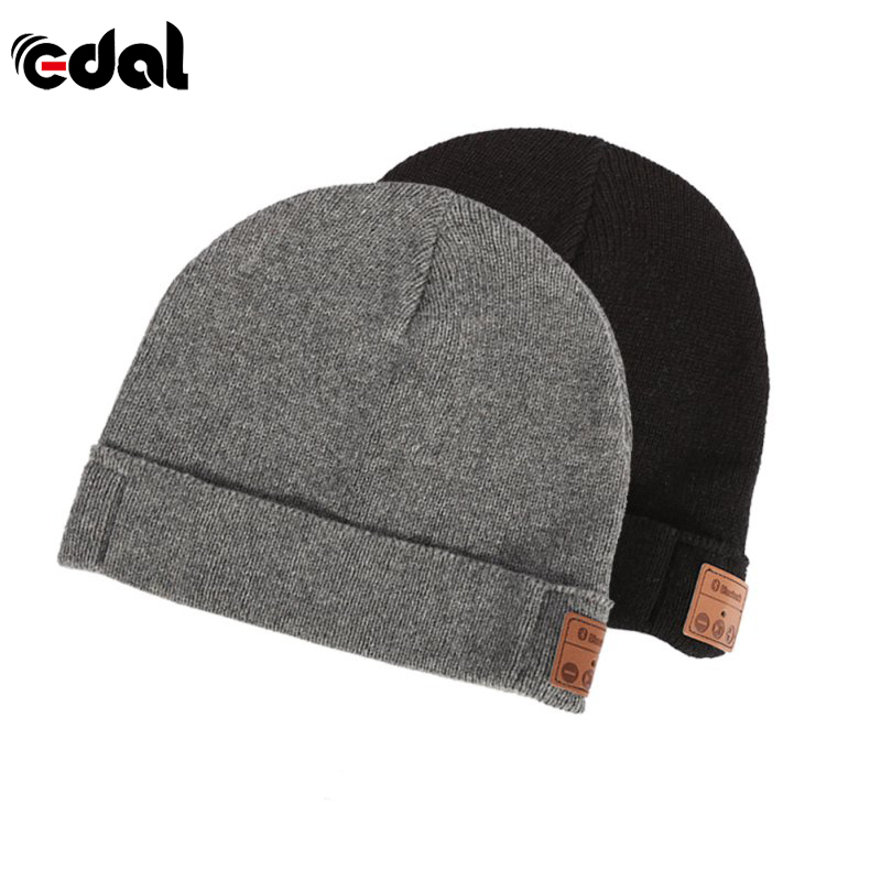 EDAL Winter Soft Warm Beanie Hat Wireless Bluetooth V3.0 Smart Cap Headset Hands Free Ear-Phone Speaker Mic Bluetooth Hat knit ski beanie fashion winter women men beanie ball wool cuff hat ski cap 2017 warm winter hat new style casual soft