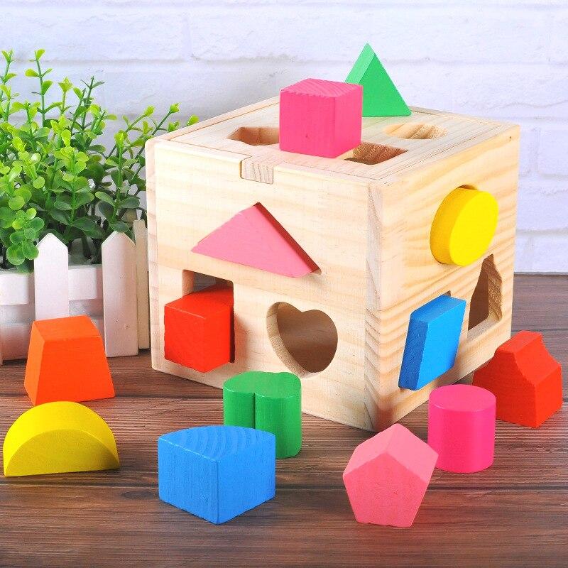 En bois Coloré Sagesse Boîte Treize Trou Intelligence Boîte Enfants de Puzzle Forme Jumelé Blocs de Construction Jouets